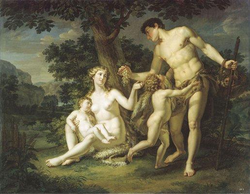 Адам и Ева с детьми под деревом. Андрей Иванов, 1803
