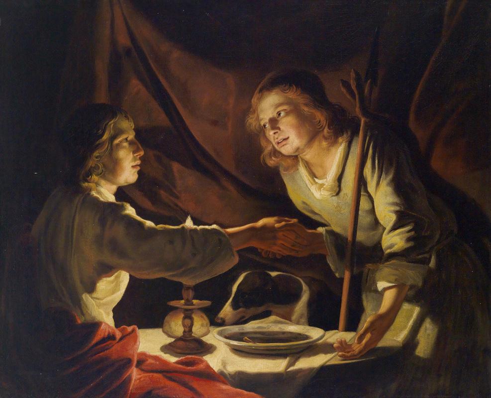 Эсав продает первородство за чечевичную похлебку. Маттиас Стом, I половина XVII века.
