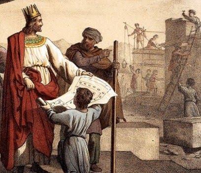 Соломон на строительстве Храма, иллюстрация к Библии