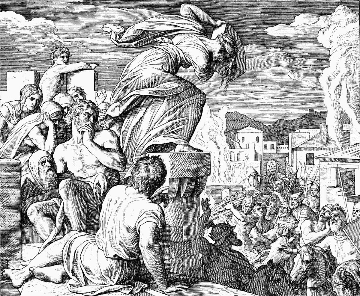 Смерть Авимелеха при осаде крепости Тевец (гравюра).  Юлиус Шнорр фон Карольсфельд (1794-1872)