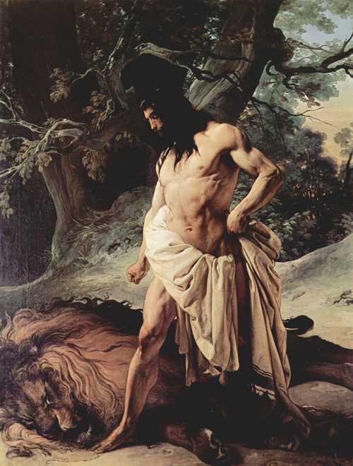 Самсон и лев. Франческо Хайец, 1842 г.