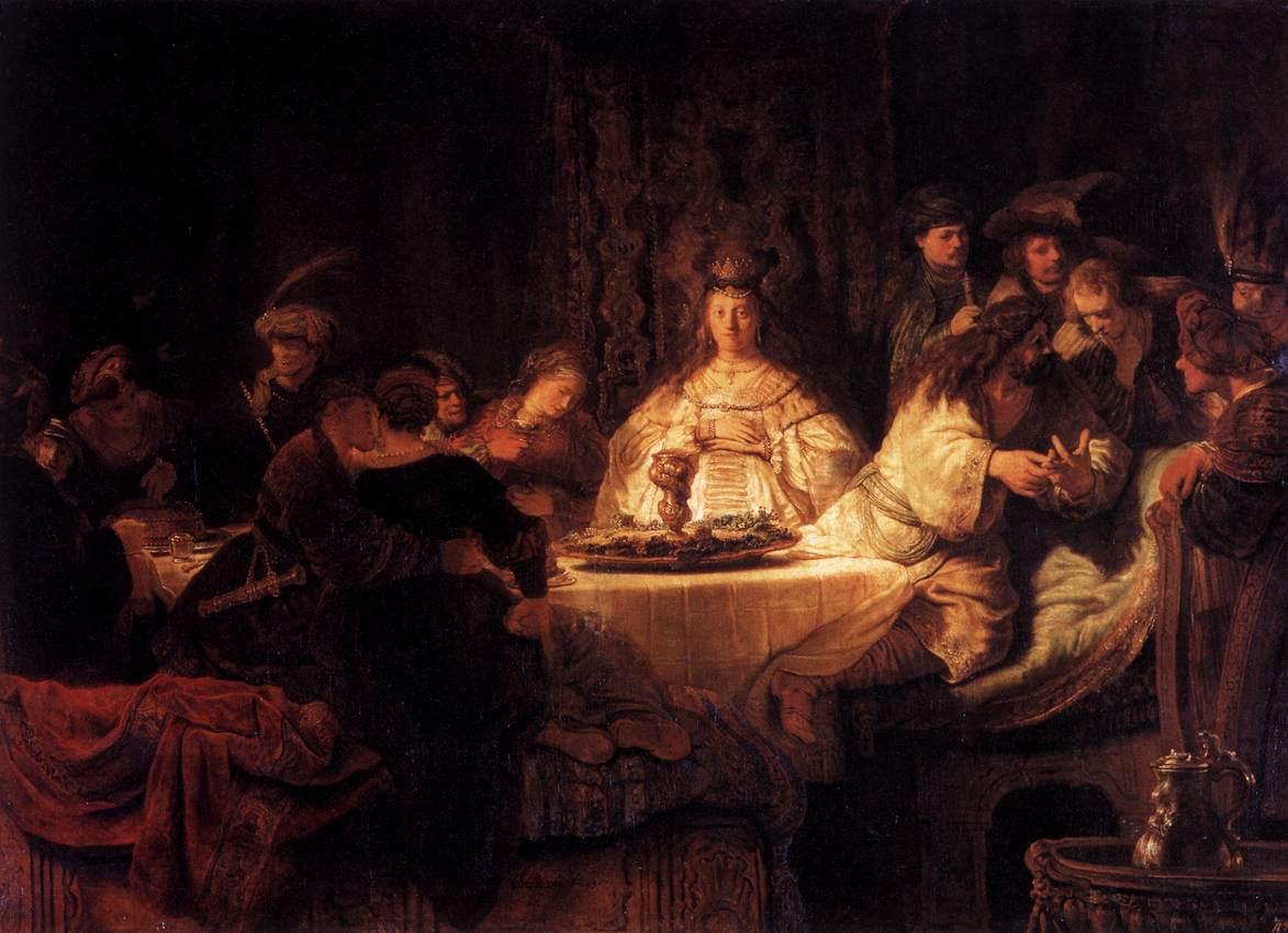 Свадьба Самсона. Рембрандт Харменс ван Рейн, 1638 г.  ('И сказал им Шимшон: я загадаю вам загадку...').