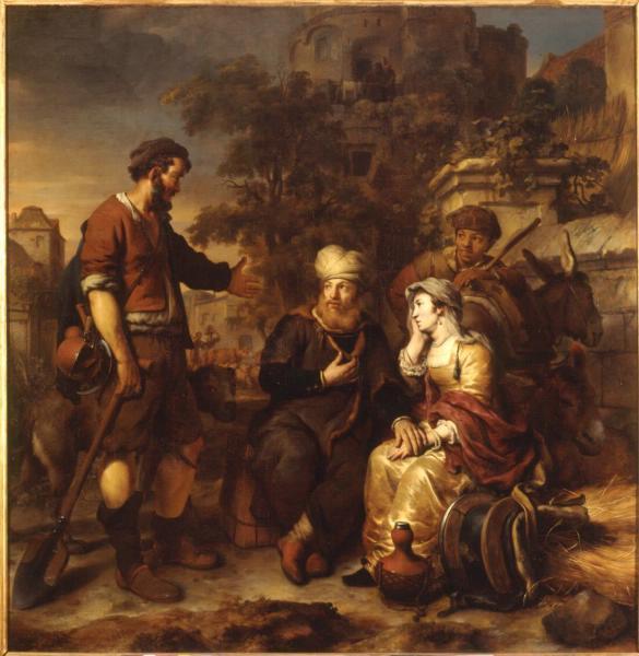 Приглашение на ночлег жителем города Гивы Левита и его наложницы. Гербранд Янс ван ден Экхаут, 1658 г.