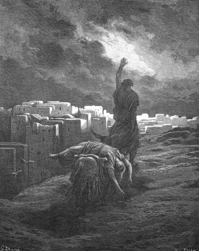 Левит возвращается домой. Гравюра), Гюстав Доре (1832-1883)