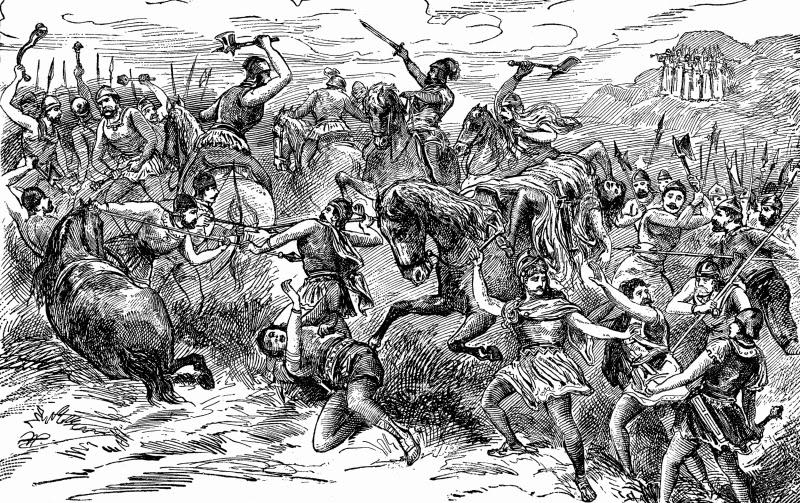 Битва израильтян с коленом Биньямина (иллюстрация к Библии)
