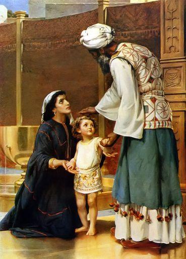 Ханна отдает Шемуэля на службу Господу. Иллюстрация к Библии.