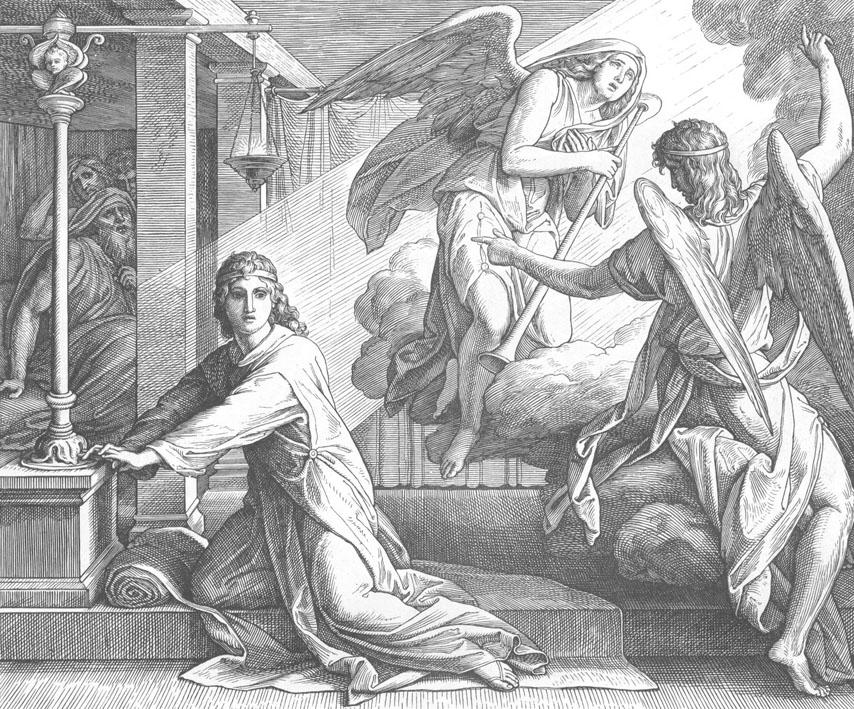 Господь говорит Самуилом (гравюра). Юлиус Шнорр фон Карольсфельд (1794-1872)