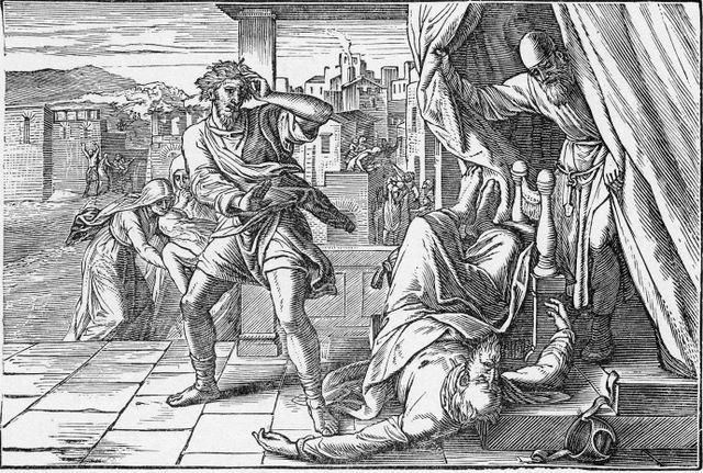 Смерть Эли. Юлиус Шнорр фон Карольсфельд, гравюра, 1860.