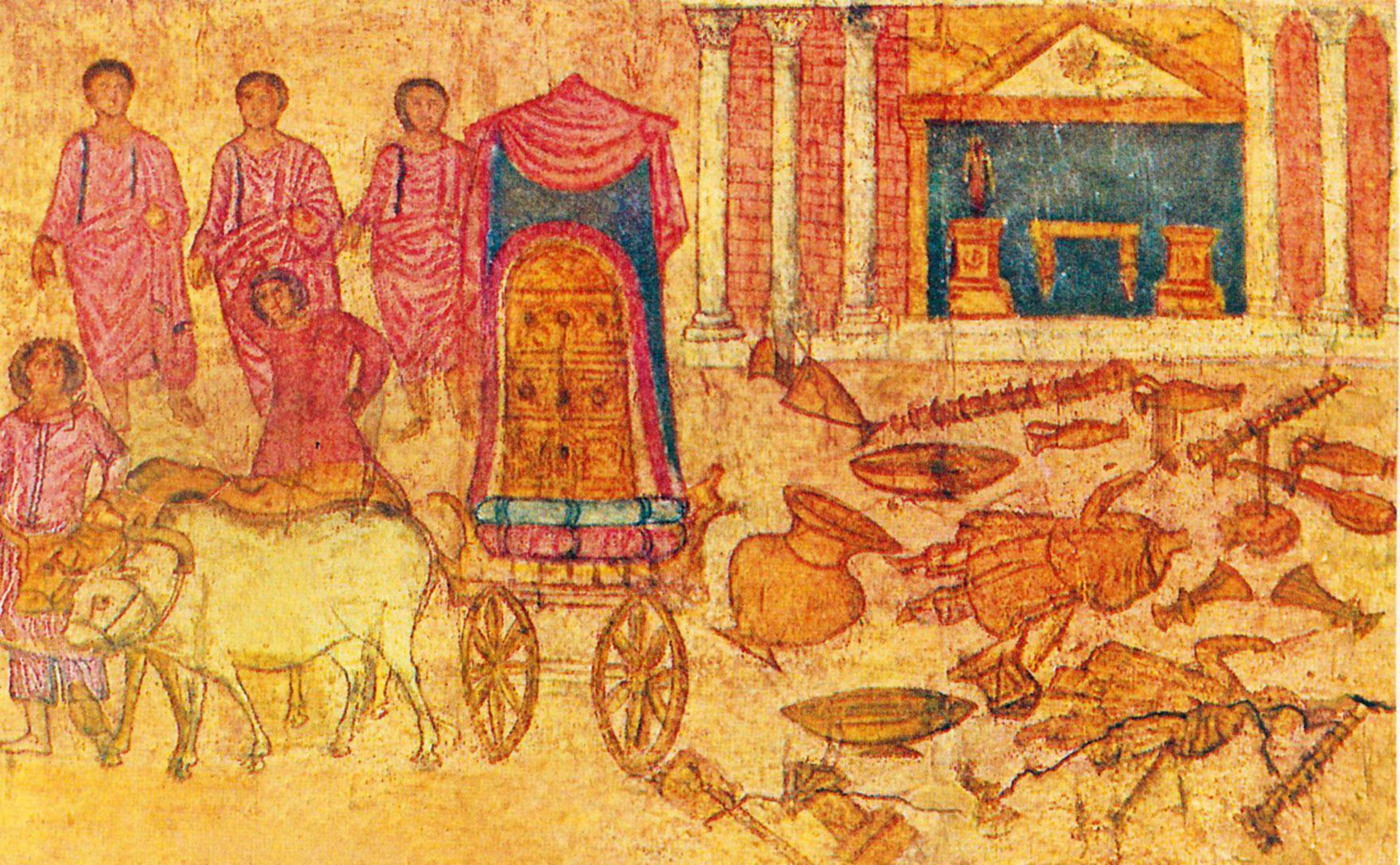 Захваченный фиистимлянами Ковчег завета в храме Дагона. Фреска синагоги Дура-Европос (Сирия)