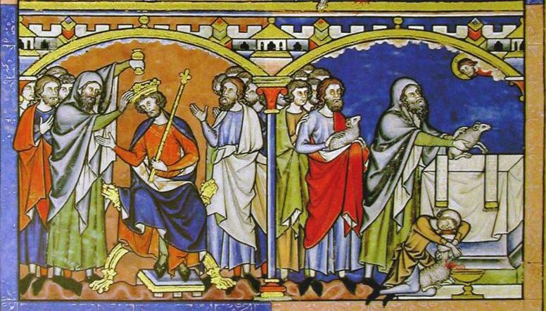 Самуил помазывает на царство Саула и совершает жертвоприношение. Библия Мациевского, XIII век