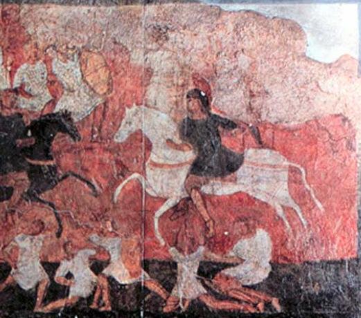 Битва при Эвен-Эзере (IСам. гл. 4). Фреска синагоги Дура-Европос (Сирия), 3 век