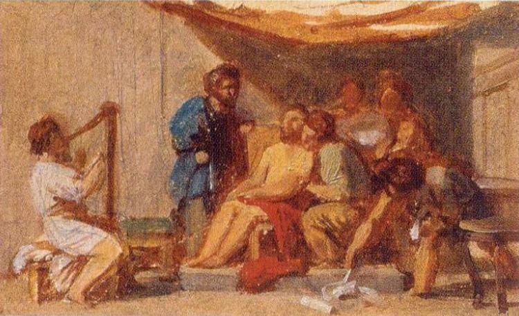 Давид играет на гуслях перед Саулом. Н. Загорский (1849 - 1893)
