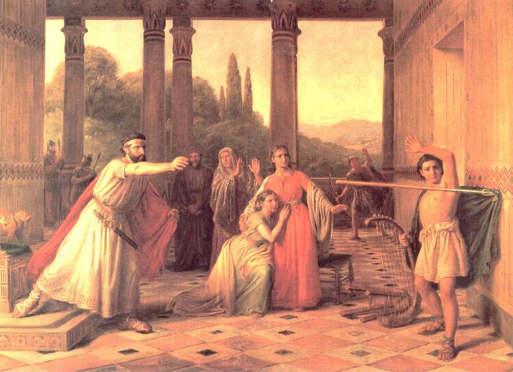 Саул мечет копье в Давида. Константин Хансен.