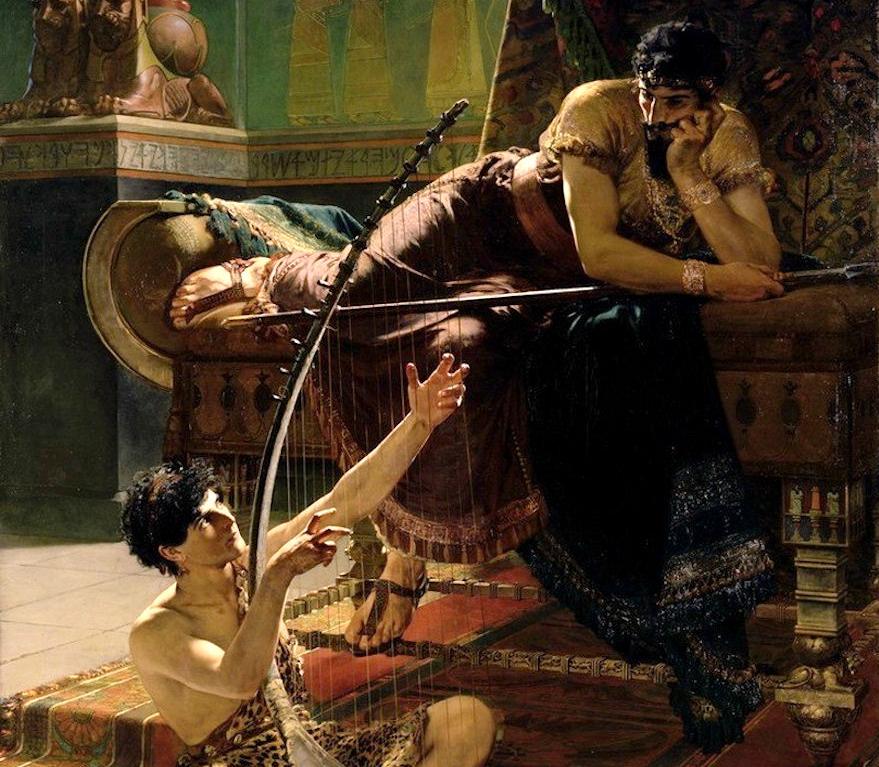 Юлиус Кронберг. Давид играет на арфе перед Шаулем, 1885 (фрагмент)