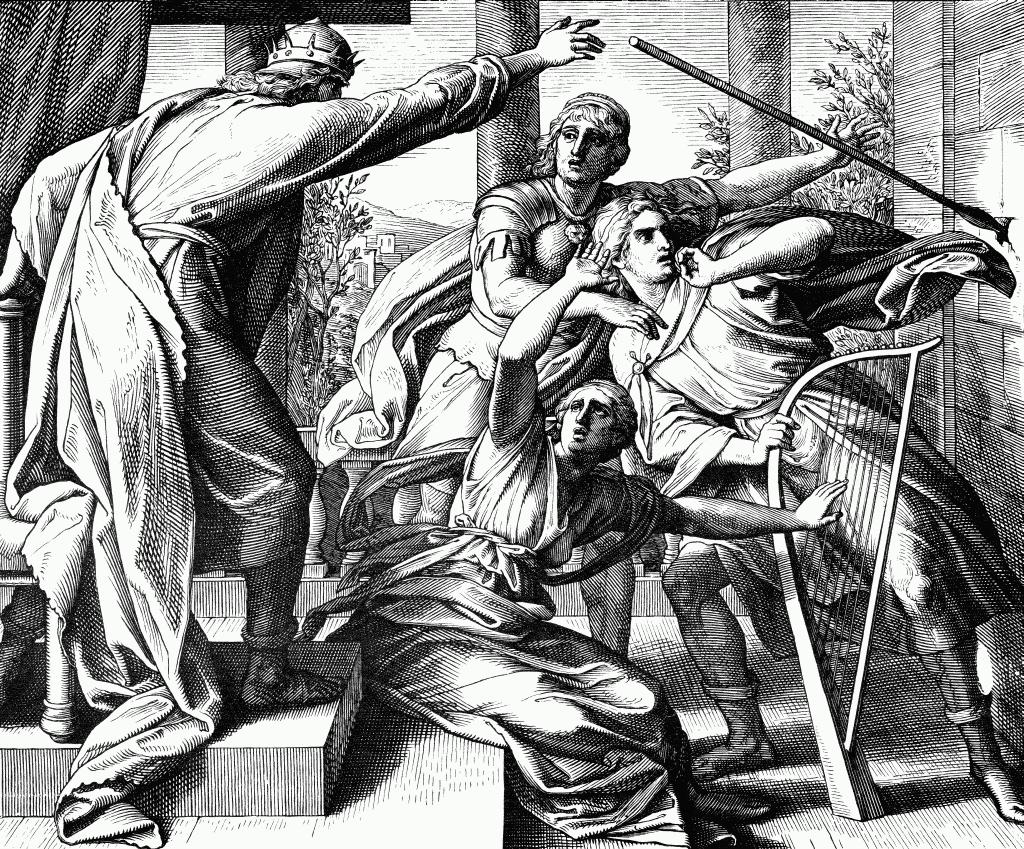 Шауль пытается убить Давида. Юлиус фон Карольсфельд, 1850