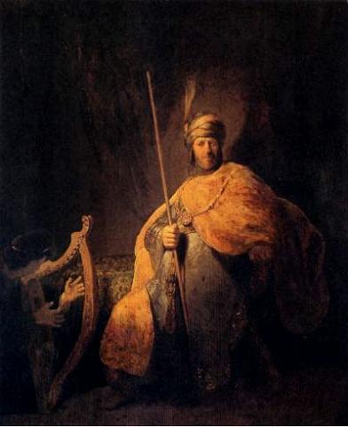 Давид играет на арфе перед Шаулем. Рембрандт, 1629 г.