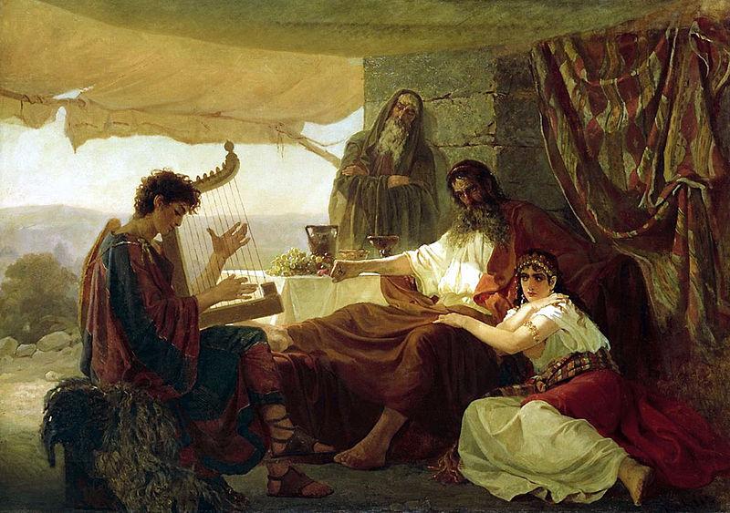 Давид играет на арфе перед Саулом. Загорский Н. П. 1873  (дочь Саула Михаль сидит рядом с отцом)
