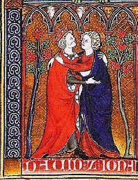 Давид и Йонатан, миниатюра из французской рукописи, около 1300 г.