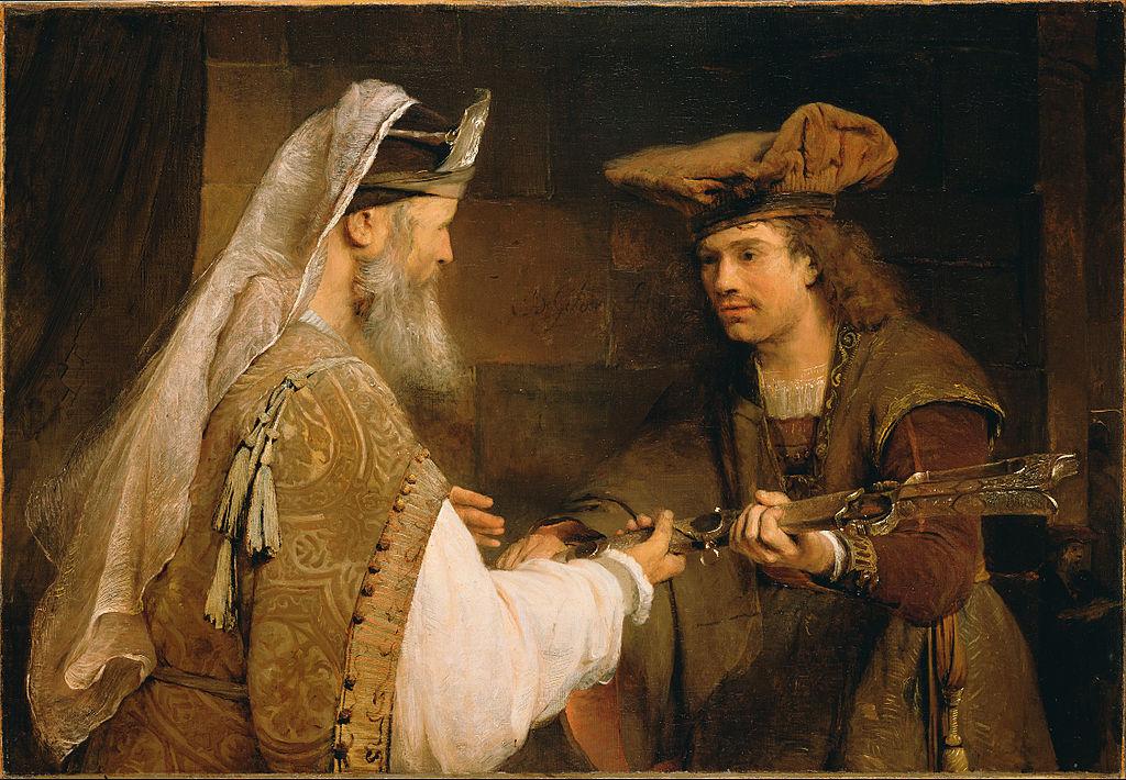 Ахимелех передает меч Голиафа Давиду. Арент де Гелдер, прибл. 1680 г.