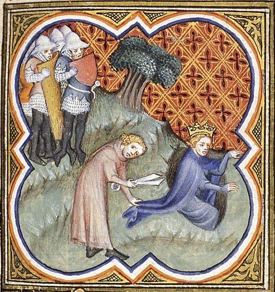 Давид отрезает кусок плаща Саула, Bible Historiale, 1372