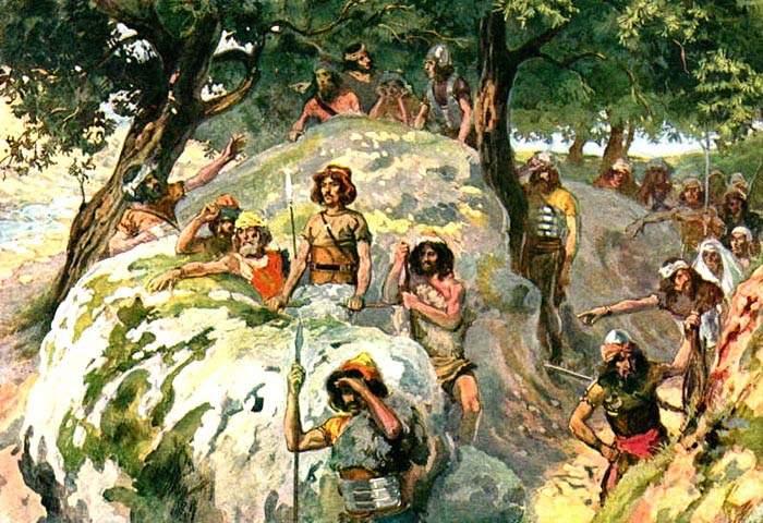 Давид со своими людьми скрывается от Шауля. Иллюстрация к Детской Библии.