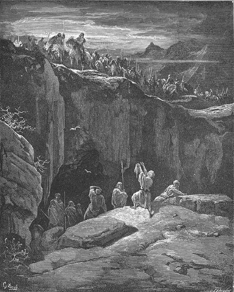 Давил показывает Саулу край его одежды. Гюстав Доре, 1866