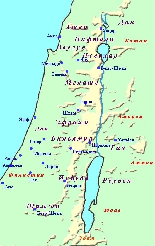 Карта колен израилевых