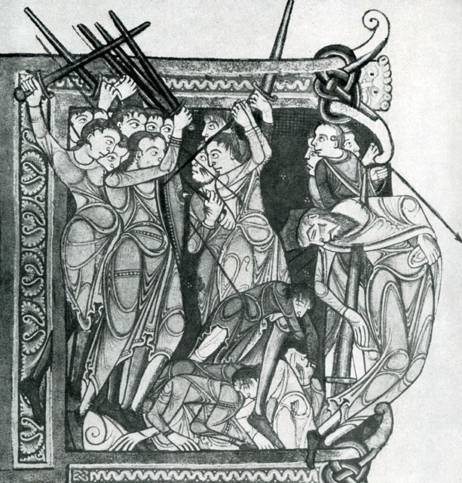 Смерть Саула и его сыновей. Миниатюра Библии Ламбета. Около 1150 г.