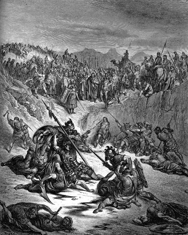 Схватка между сторонниками Иш-Бошета (Иевосфея) и Давида. Гюстав Доре (1832-1883)