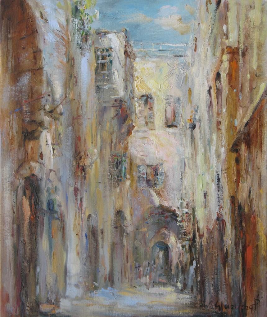 Илл. 2. Петр Глузберг - Иерусалим. Улица в Старом городе, 2011