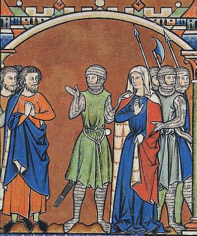 Авнер (в зеленом) по поручению Давида отнимает Михаль у ее мужа Палтиэля. Библия Мациевского, 13 в.