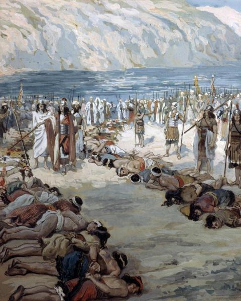 'Тех, в ком (росту) было две веревки, он (велел) убить, а тех, в ком (росту) была одна веревка – оставить в живых' (II Cам. 8:2). Джеймс Тиссо (1836 - 1902)
