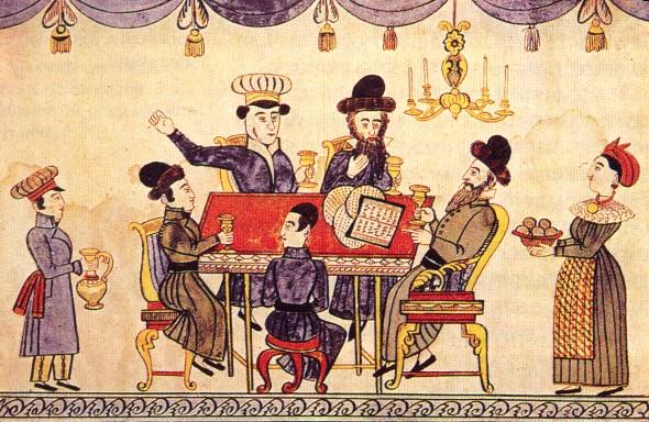Празднование Песаха. Лубок XIX века (Википедия)