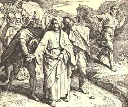 Шими обвиняет Давида. Гравюра на дереве, Юлиус Шнорр фон Карольсфельд (1794-1872)