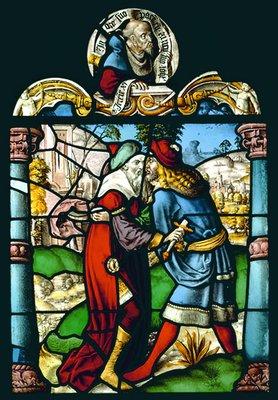 Иоав убивает Амессая. Витраж из аббатства Марлавальд. Худож. Э. Ренсиг