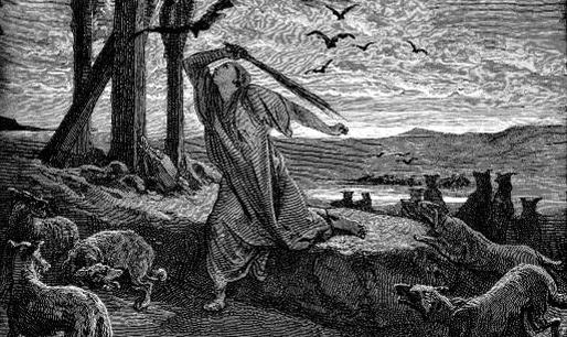 Рицпа отгоняет стервятников от тел своих сыновей. Гюстав Доре (1832 -1883), гравюра (фрагмент)