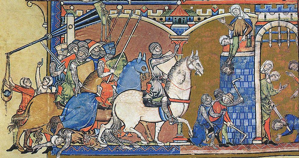 Библия Мациевского (Библия Моргана, 1240—1250).  Иллюстрация к 20-й главе Второй книги Самуила.