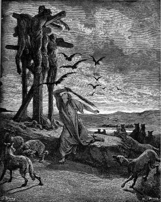 Рицпа отгоняет стервятников от тел своих сыновей. Гюстав Доре (1832-1883), гравюра
