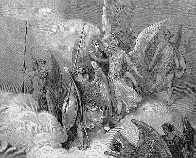 Гюстав Доре. Война в Небесах (фрагмент гравюры)