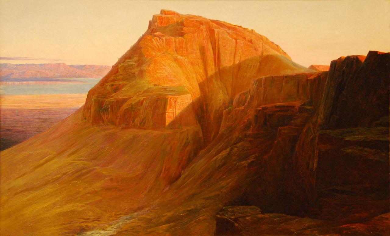 Масада (или Себбе) на Мертвом море, Эдвард Лир, 1858. Источник: Википедия
