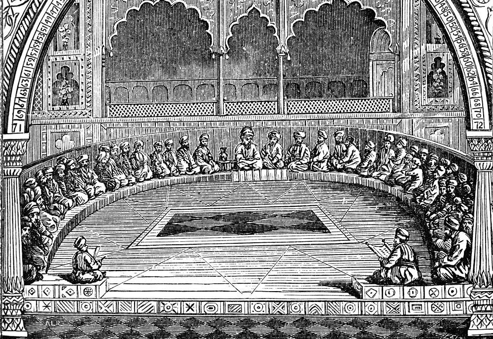 Заседание Великого Синедриона, Американская энциклопедии 1883. Мудрецы сидели так, чтобы председатель видел всех.