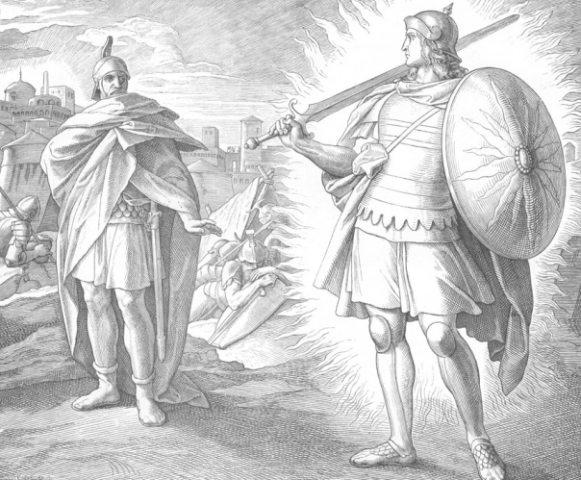 Иисус Навин и воин.  Юлиус Шнорр фон Карольсфельд (1794- 1872)