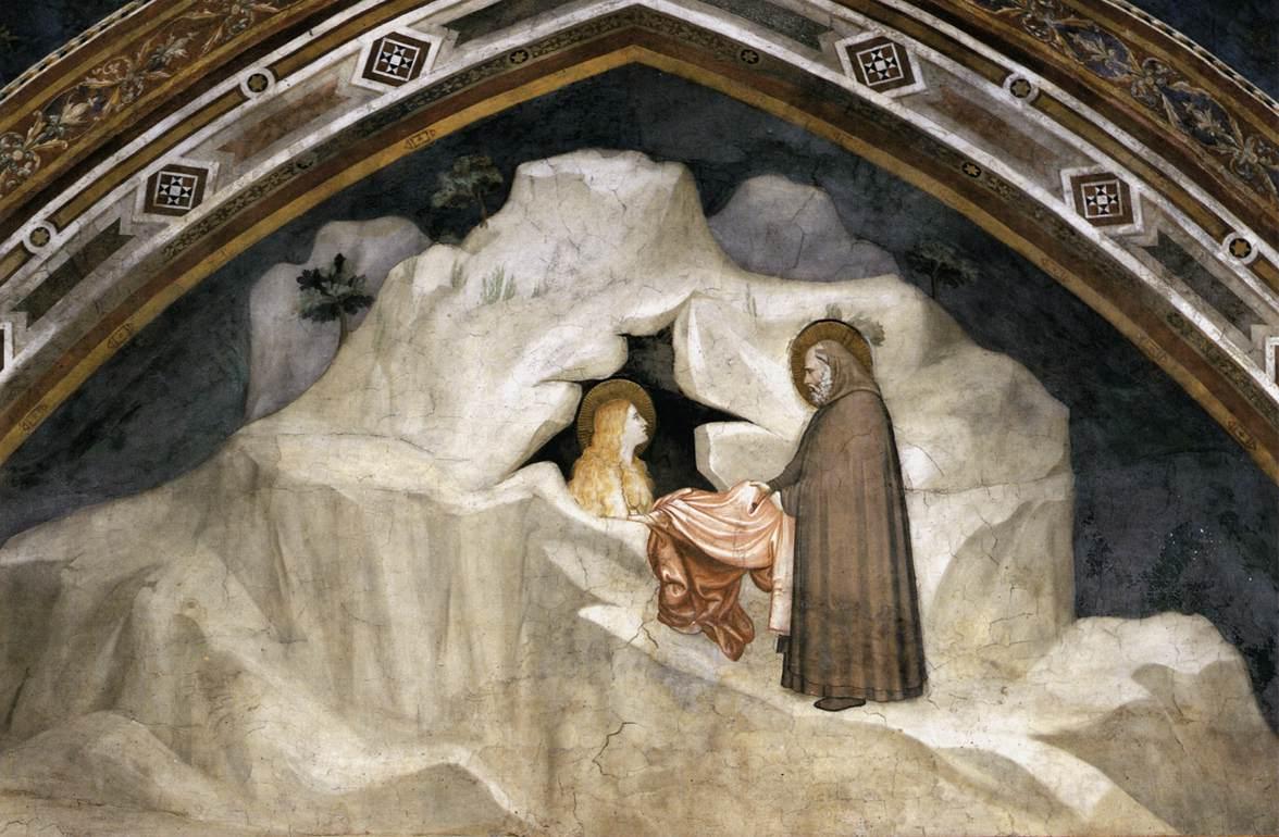 Старец даёт гиматий Марии Магдалине. Фреска Джотто в капелле Магдалины нижней базилики Сан-Франческо в Ассизи, 1320-е.