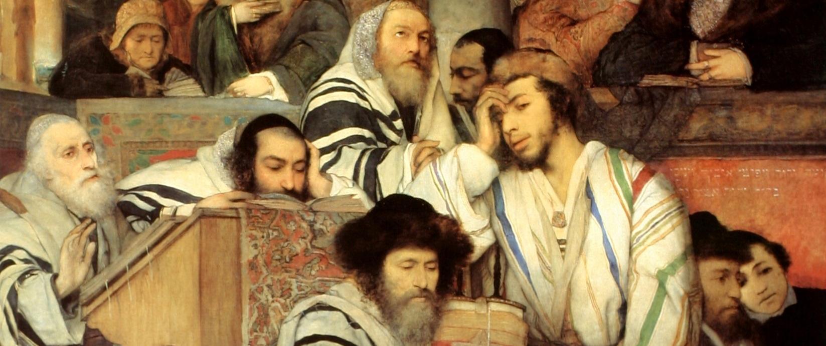 Мауриций Готтлиб, Еврейская молитва в синагоге в Йом-Кипур (1878), фрагмент. Тель-Авивский художественный музей