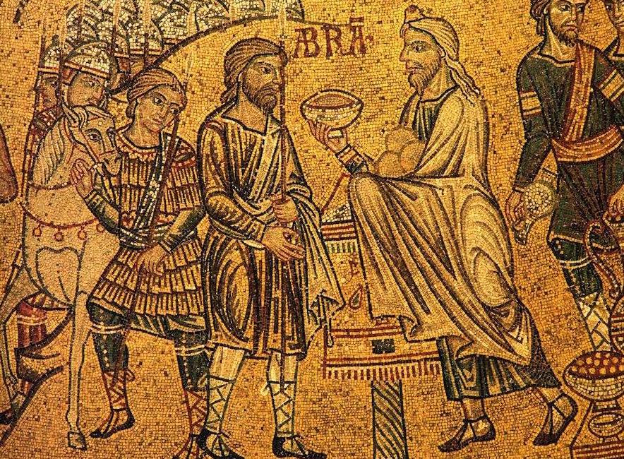 Встреча Авраама и Малки-Цедека. Фреска собора Святого Марка (Италия)