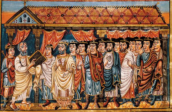 Моше наставляет израильтян. Библия Святого Карла II Лысого, 9 век
