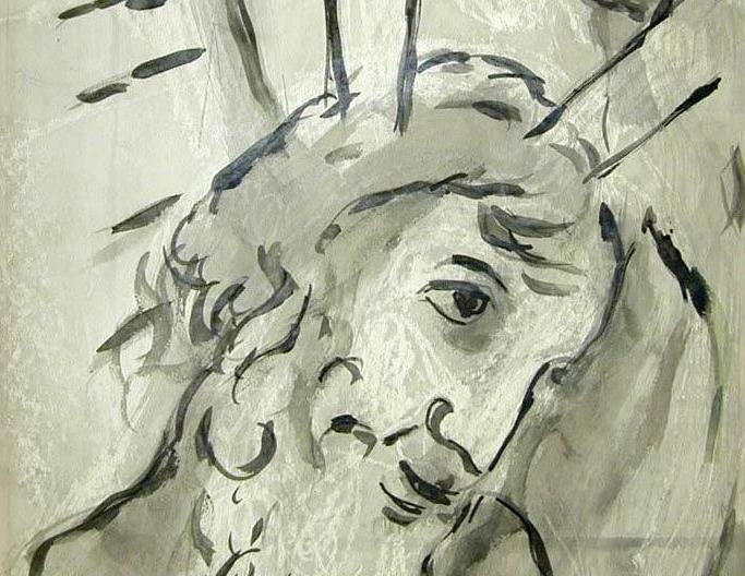 Марк Шагал. Моисей со скрижалями. 1951 (фрагмент). Музей искусств, Хайфа