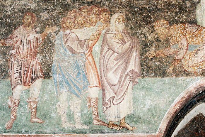 Иаков с сыновьями перед Иосифом. Монастырь Сопочаны, Сербия