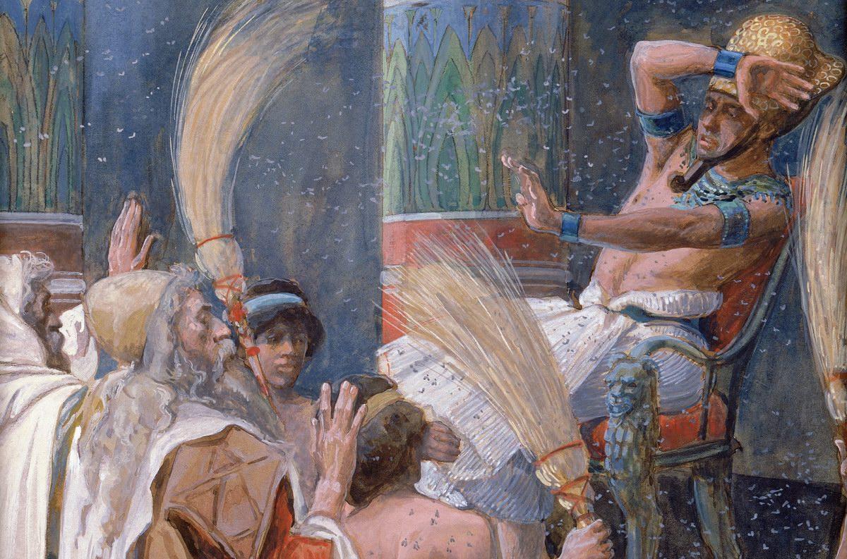 Моше перед фараоном. Казни египетские. Фрагмент картины Джеймса Тиссо