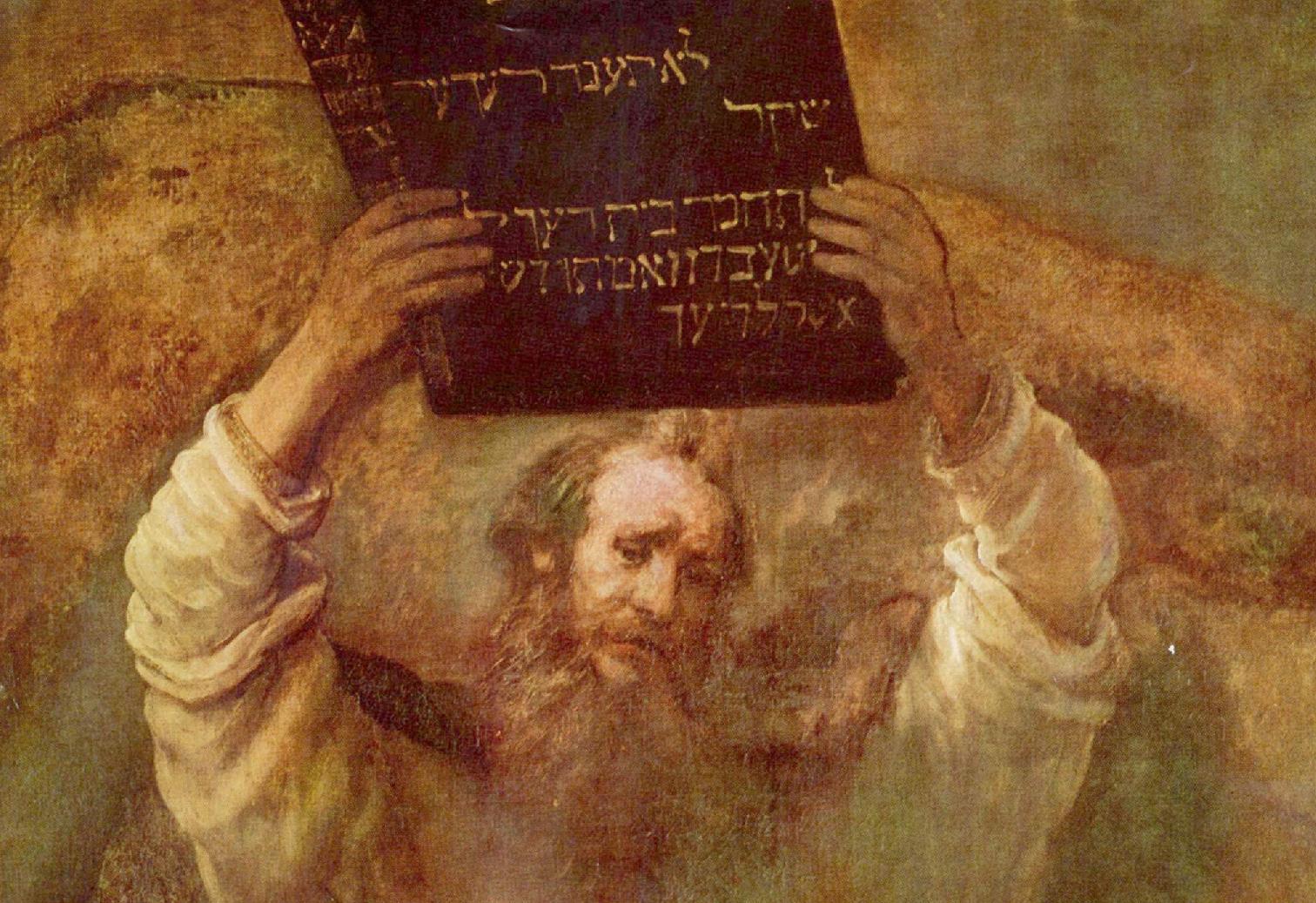 Рембрандт. Моисей с 10-ю заповедями (фрагмент картины)